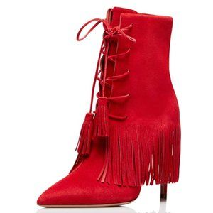 YDN Bohemian Fringed Stiletto High Heel Ankle Boot